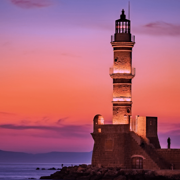 Lighthouse upon a rock at dawn