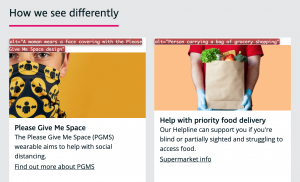 Examples of Alt-text use on the RNIB Website