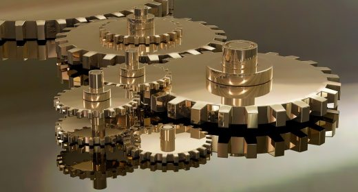 gold-coloured mechanical gears