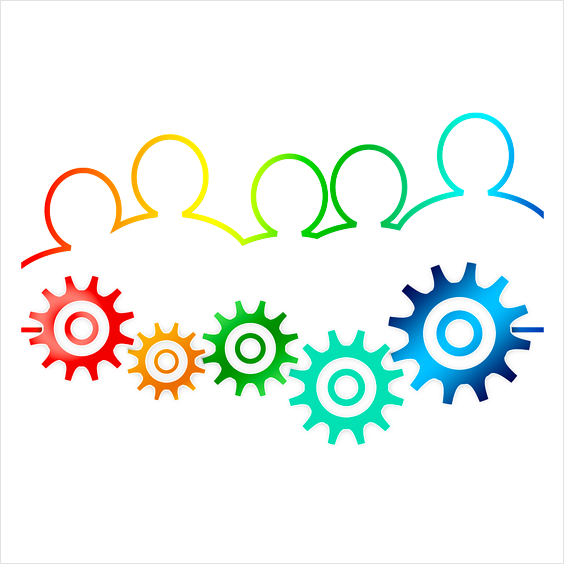 Teamwork graphic in rainbow colours