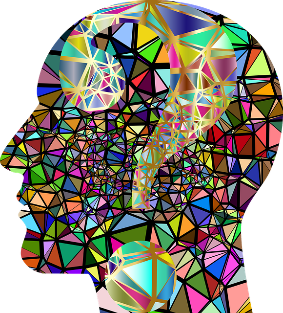 Multicoloured head graphic with question mark