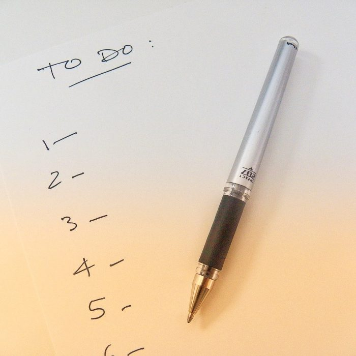 To-do list on piece of paper