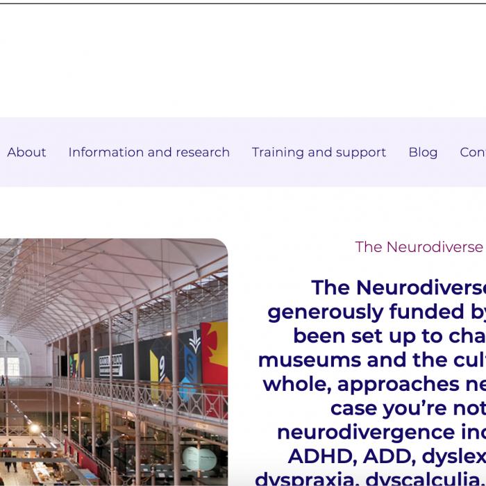 screenshot of the neurodiverse museum website homepage