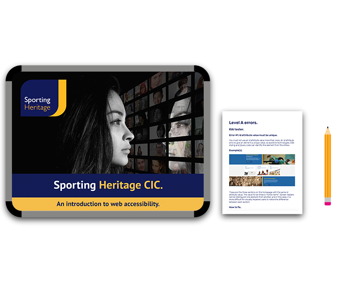 Web Accessibility Training and Consultancy Case Study for Sporting Heritage CIC - a webinar on intro to web accessibility and website audit report