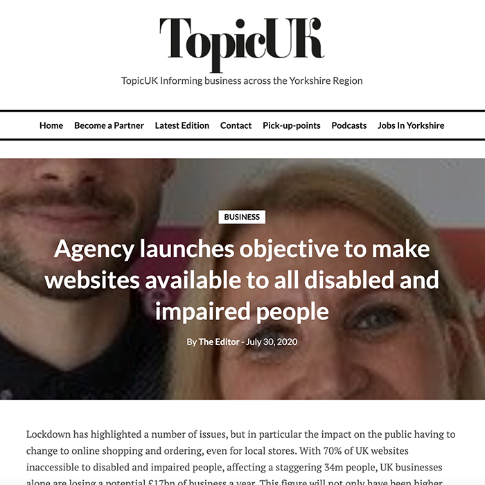 Topic UK Agency launches objective to make websites available to all disabled and impaired people