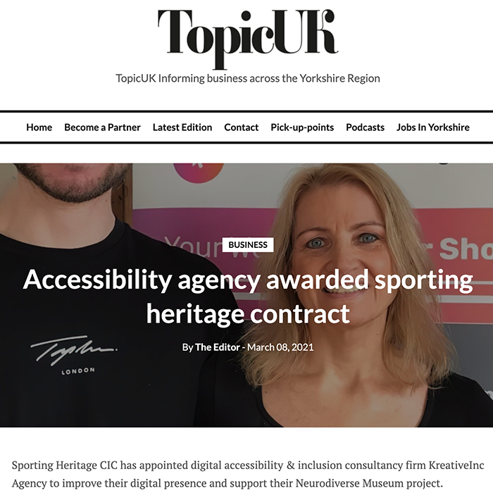 Topic UK Accessibility agency awarded sporting heritage contract