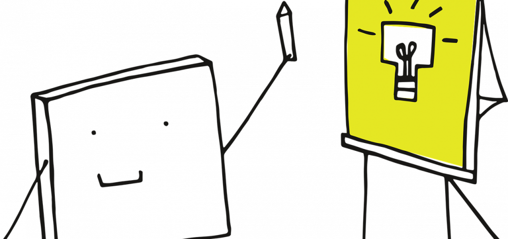 drawing of a square-bodied stick person presenting a drawing of a square light bulb on a flipchart board