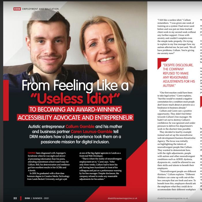 DRM Magazine Feature showing Caren Launus-Gamble and Callum Gamble of KreativeInc Agency